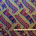 Coupon de tissu - Wax 100% coton - Oriflamme - Rose / Bleu / Ocre