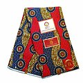 Coupon de tissu - Wax 100% coton - Graphiques - Bleu / Rose / Ocre