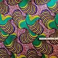Coupon de tissu - Wax 100% coton - Graphiques - Vert / Jaune / Rouge