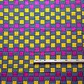Pagne - Wax 100% coton - Carreaux - Rose / Jaune / Bleu