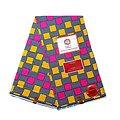 Coupon de tissu - Wax 100% coton - Carreaux - Rose / Jaune / Bleu
