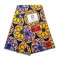 Coupon de tissu - Wax 100% coton - Rosaces - Jaune / Orange / Mauve