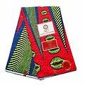 Coupon de tissu - Wax 100% coton - Graphiques - Rouge / Vert / Bleu