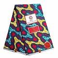 Coupon de tissu - Wax 100% coton - Graphiques - Bleu / Rouge / Jaune