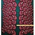 Coupon de tissu - Wax 100% coton - Paon - Mauve / Turquoise / Noir
