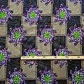 Coupon de tissu - Wax 100% coton - Fleurs - Violet / Vert / Brun