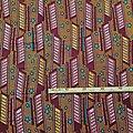 Coupon de tissu - Wax 100% coton - Graphiques - Bordeaux / Jaune / Rose