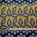 Coupon de tissu - Wax 100% coton - Graphiques - Bleu / Ocre / Noir
