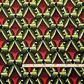 Coupon de tissu - Wax 100% coton - Graphiques - Rouge / Vert / Noir