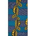 Coupon de tissu - Wax 100% coton - Plumes - Vert / Jaune / Bleu