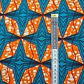 Pagne - Wax - Etoiles - Bleu / Orange / Blanc