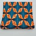 Coupon de tissu - Wax - Etoiles - Bleu / Orange / Blanc