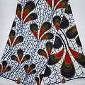 Coupon de Tissu - Wax  - Crapaud & Cie- Blanc / Bleu marine / Rouge