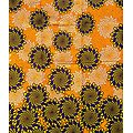 Coupon de tissu - Wax - Graphiques - Orange / Jaune / Marron foncé