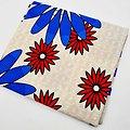 Pagne - Wax - Fleurs - Rouge / Bleu / Beige