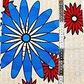 Coupon de tissu - Wax - Fleurs - Rouge / Bleu / Beige