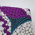 Coupon de tissu - Wax - Raisins - Violet / Vert / Blanc