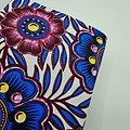 Coupon de tissu - Wax - Fleurs - Bleu / Blanc / Violet