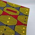Coupon de tissu - Wax - Rayures - Jaune / Noir / Rouge