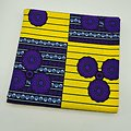Coupon de tissu - Wax - Ronds - Jaune / Blanc / Violet