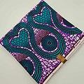 Coupon de tissu - Wax - Cœurs - Violet / Rose / Blanc