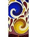 Pagne - Wax - Spirales - Bleu / Jaune / Bordeaux