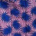 Coupon de tissu - Wax - Fleurs - Bleu / Rose / Blanc