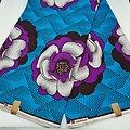 Coupon de tissu - Wax - Fleurs - Bleu / Violet / Blanc