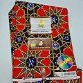 Coupon de tissu - Wax - Graphiques - Rouge / Marron / Jaune