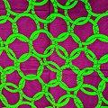 Coupon de tissu - Wax - Anneaux - Vert / Violet / Noir