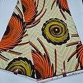 Coupon de tissu - Wax - Spirales - Jaune / Orange / Noir / Ocre