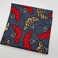 Coupon de tissu - Wax - Fleur de Mariage - Rouge / Gris / Ocre