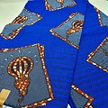 Coupon de tissu - Wax - Ampoules - Bleu / Marron / Blanc