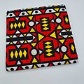 Coupon de tissu - Wax - Graphiques - Rouge / Jaune / Noir / Blanc