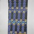 Coupon de tissu - Wax - Graphiques - Pailleté - Bleu / Blanc / Noir / Jaune