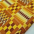 Coupon de tissu - Wax - Graphiques - Pailleté - Marron / Jaune / Ocre