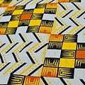 Coupon de tissu - Wax - Graphiques - Pailleté - Blanc / Jaune / Noir / Orange
