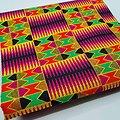 Coupon de tissu - Wax - Graphiques - Pailleté - Rose / Jaune / Noir