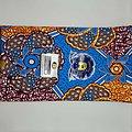 Coupon de tissu - Wax - Hélices - Bleu / Orange / Violet