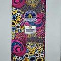 Coupon de tissu - Wax - Spirales - Rose / Bleu / Jaune