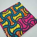 Coupon de tissu - Wax - Graphiques - Rose / Jaune / Vert