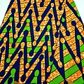 Pagne - Wax - Graphiques - Bleu / Vert / Orange