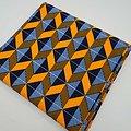 Coupon de tissu - Wax - Graphiques - Orange / Bleu clair / Bleu foncé
