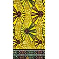 Coupon de tissu - Wax - Graphiques - Jaune / Vert / Marron