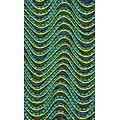 Coupon de tissu - Wax - Vagues - Vet / Jaune / Bleu
