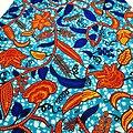 Coupon de tissu - Wax - Cynthia - Bleu / Orange / Jaune