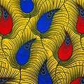 Coupon de tissu - Wax - Anaïs - Jaune / Bleu / Rouge
