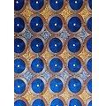 Pagne - Wax - Hélices - Bleu / Marron