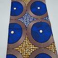 Coupon de tissu - Wax - Hélices - Bleu / Marron