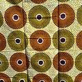 Coupon de tissu - Wax - Ronds - Orange / Jaune / Marron